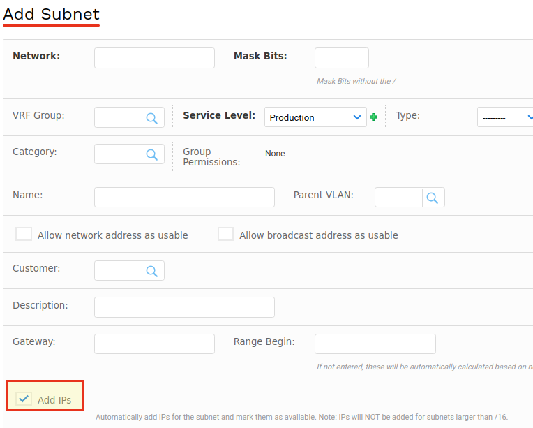 Add available IPs to sunbet – Device42 Support Portal